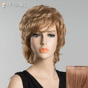 Short Slightly Curled Inclined Bang Siv Human Hair Wig