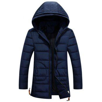 Drawstring Back Slit Hooded Zip-Up Padded Coat