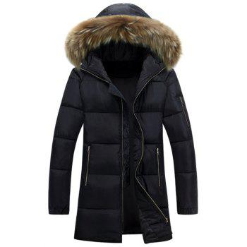 Furry Hood Zip Up Longline Padded Coat