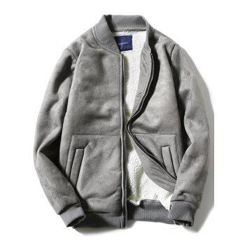 Fleece Zip-Up Stand Collar Thicken Suede Coat