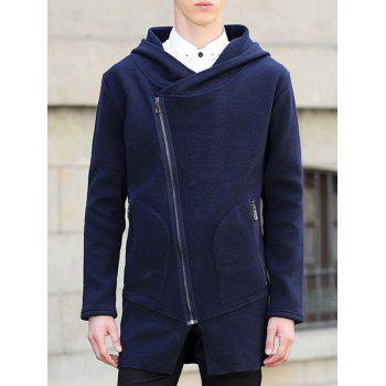 Hooded Lengthen Oblique Zipper Design Knit Blends Cardigan