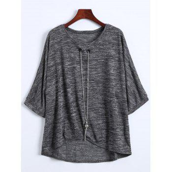 Plus Size Batwing Blouse with Necklace