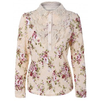 Floral Print Lace Panel Blouse