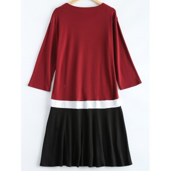 Plus Size Color Block Ruffle Long Sleeve Dress - WINE RED 3XL
