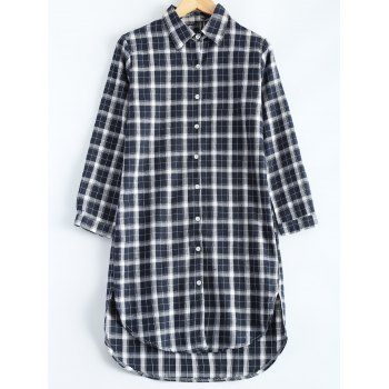 Buy Plus Size Plaid High Low Button Casual Shirt Dress CHECKED