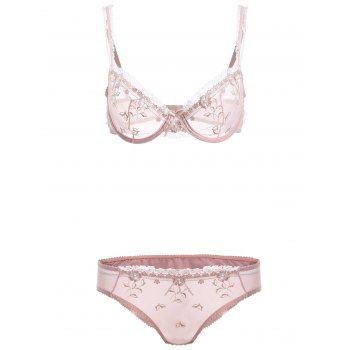 Lace Spliced See-Through Bowknot Bra Set