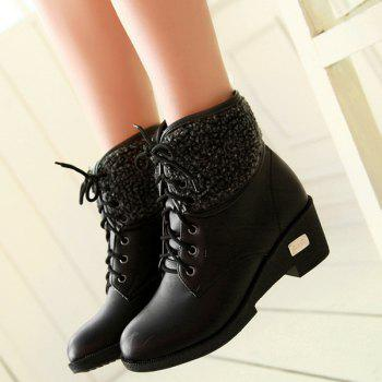 Lace-Up Faux Shearling Wedge Heel Boots - BLACK 37