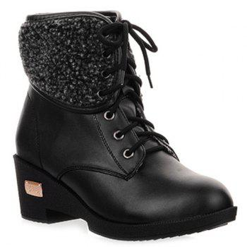 Lace-Up Faux Shearling Wedge Heel Boots - BLACK BLACK