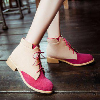 Suede Lace-Up Color Block Boots - ROSE RED ROSE RED