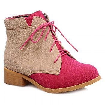 Suede Lace-Up Color Block Boots