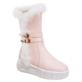 Double Buckles Faux Fur Platform Boots
