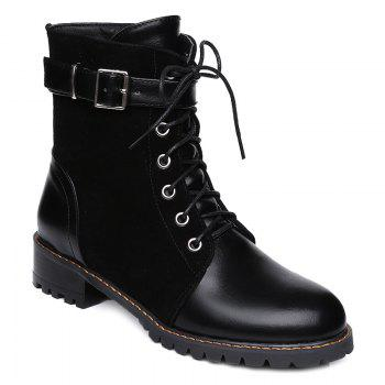 Buckle Strap Suede Spliced Combat Boots