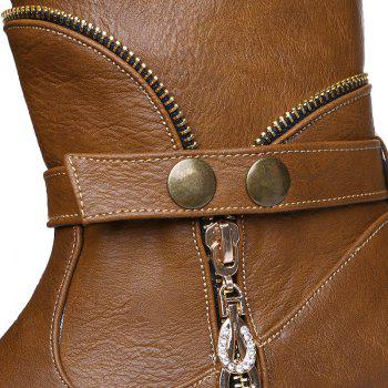 Retro Zip Embellished Mid-Calf Boots - BROWN BROWN