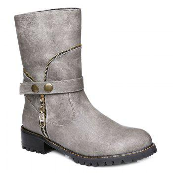 Retro Zip Embellished Mid-Calf Boots