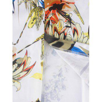 Chinese Painting Print Vintage Dress - WHITE WHITE