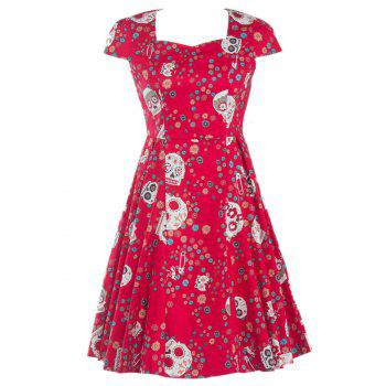 Splicing Skull Floral Print Party Dress - RED RED