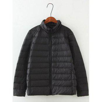 Long Sleeve Padded Down Jacket - BLACK 4XL