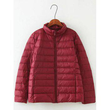 Long Sleeve Padded Down Jacket - WINE RED WINE RED