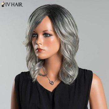 Siv Long Colormix Side Parting Wavy Human Hair Wig -  COLORMIX