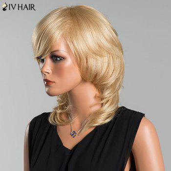 Siv Long Wavy Oblique Bang Tail Adduction Human Hair Wig -  LIGHT GOLD