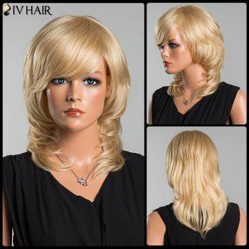 Siv Long Wavy Oblique Bang Tail Adduction Human Hair Wig - LIGHT GOLD LIGHT GOLD