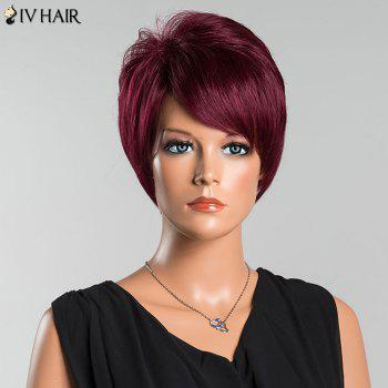 Siv Pixie Short Oblique Bang Straight Human Hair Wig -  WINE RED