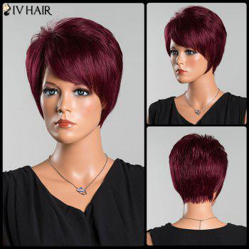 Siv Pixie Short Oblique Bang Straight Human Hair Wig - WINE RED WINE RED