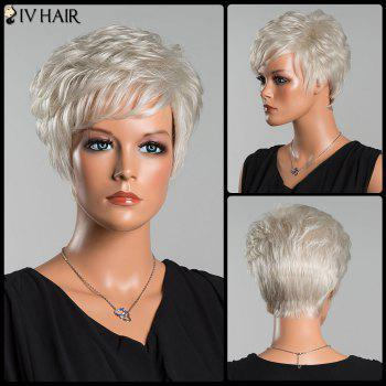 Siv Layered Short Curly Oblique Bang Human Hair Wig - SILVER WHITE SILVER WHITE