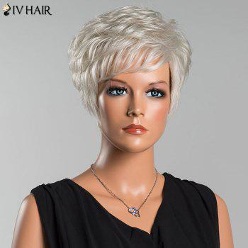 Siv Layered Short Curly Oblique Bang Human Hair Wig - SILVER WHITE