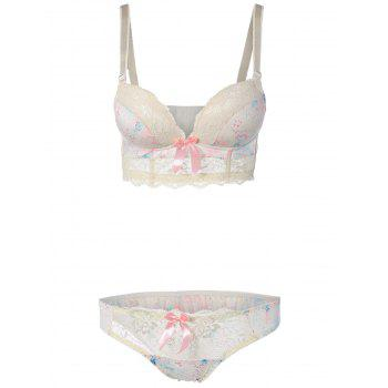 Floral Push Up Bra Set with Lace