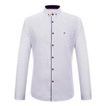 Long Sleeve Square Print Button-Down Shirt