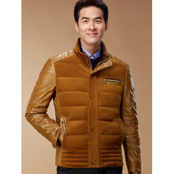 Zip-Up Corduroy and PU-Leather Spliced Down Jacket