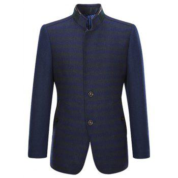 Rib and PU-Leather Splicing Stand Collar Single-Breasted Woolen Coat