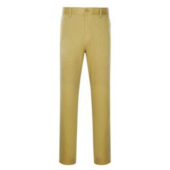 Simple Zipper Fly Slimming Straight Leg Pants
