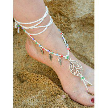 Handmade Leaf Beaded Layered Toe Girl Hippie Anklet - WHITE WHITE