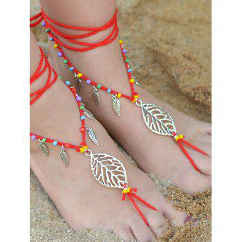 Handmade Leaf Beaded Layered Toe Girl Hippie Anklet - RED RED