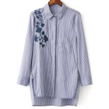 Striped High Low Embroidered Shirt
