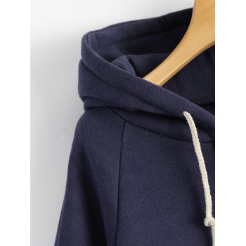 Hooded Plus Size Spliced Zip Up Hoodie - DEEP BLUE DEEP BLUE