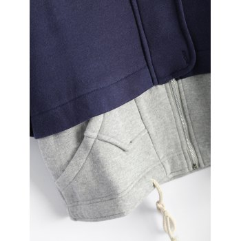 Hooded Plus Size Spliced Zip Up Hoodie - 2XL 2XL