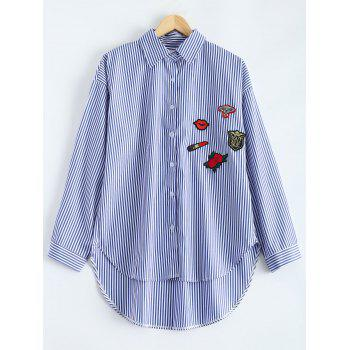 High-Low Striped Embroidered Shirt - BLUE BLUE