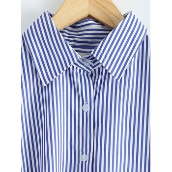 High-Low Striped Embroidered Shirt - BLUE XL