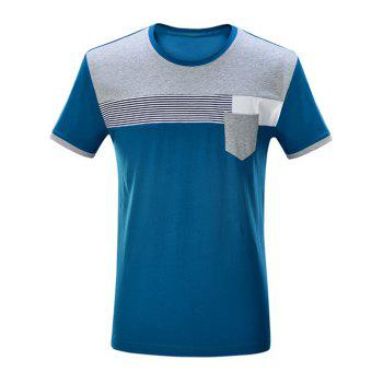 Buy Striped Pocket Front Contrast Insert T-Shirt BLUE