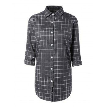 Plaid Button-Down Asymmetrical Shirt