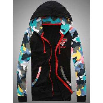 Hooded Camouflage Splicing Embroidered Zip-Up Hoodie