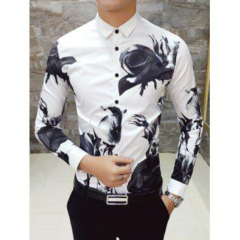 Long Sleeve Turn Down Collar Rose Printed Shirt