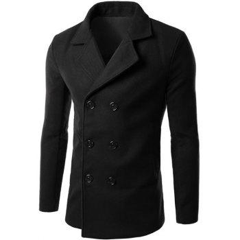 Lapel Collar Double Breasted Wool Blend Coat