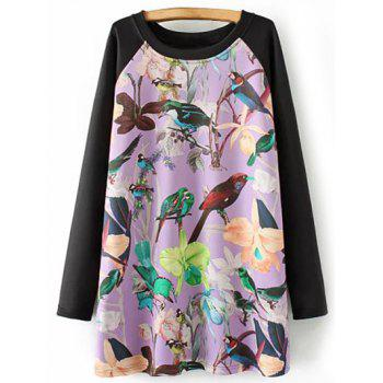 Plus Size Bird Floral Print Tunic Dress
