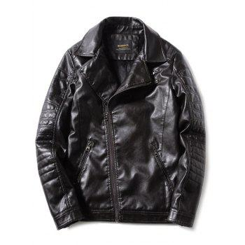 Turn-Down Collar PU-Leather Zip-Up Fleece Moto Jacket