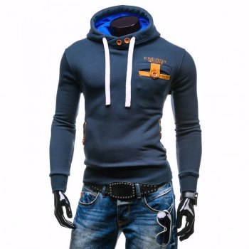 Hooded Long Sleeve Buttons Embellished Edging Hoodie