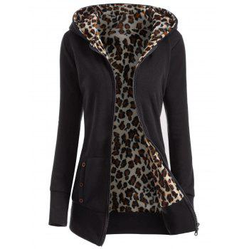 Zipper Fly Thicken Leopard Pattern Hoodie